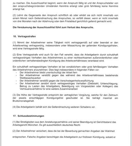 Vertrag  - (Kündigung, arbeitsrecht, Kündigungsfrist)