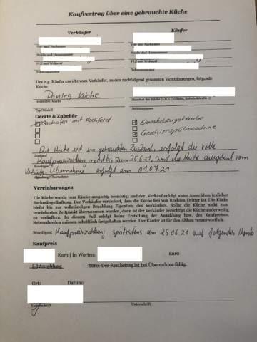 Ablöse Einbauküche - Bestimmungen im Kaufvertrag schützen nur den Verkäufer?