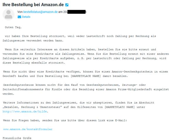 Amazon Artikel storniert von Amazon. Hintergründe?