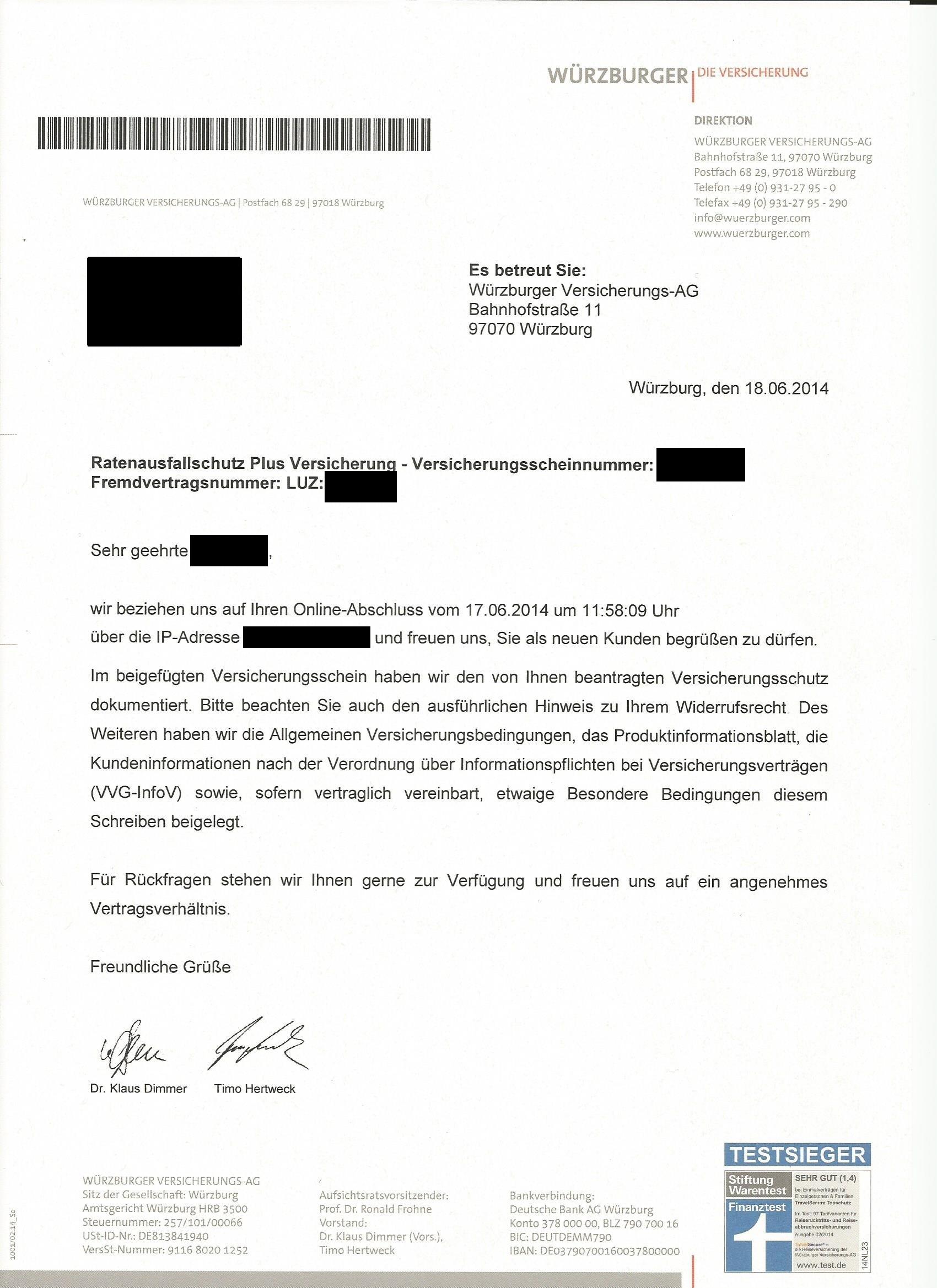 Betrug durch Luzern-Finanz und Würzburger Versicherungs-AG  (versicherungsschutz, Kreditanfrage)