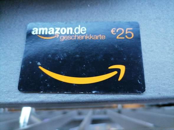 e amazon-Geschenkkarte, Wert 25,-€. Habe sie noch nicht genutzt. Kann ich damit nur  Dinge kaufen?Oder kann ich anderswo Geld dafür bek.?