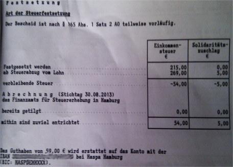 festzusetzende einkommensteuer = mein zu bezahlender Betrag ?