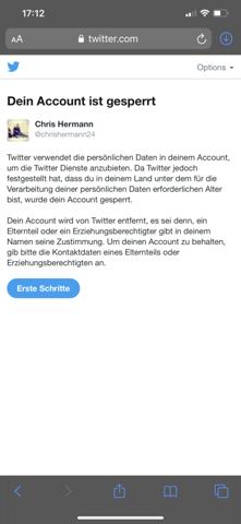 - (twitter, Account gesperrt )