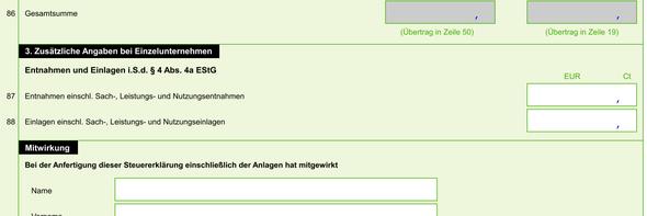screen shot - (Einnahme, eÜr)