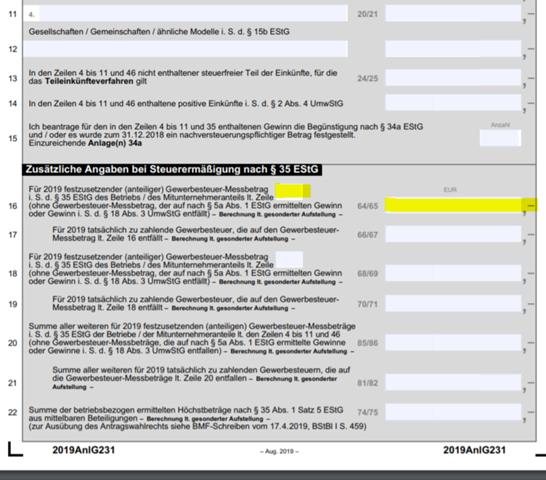 - (Steuern, Steuererklärung, Anlage G)
