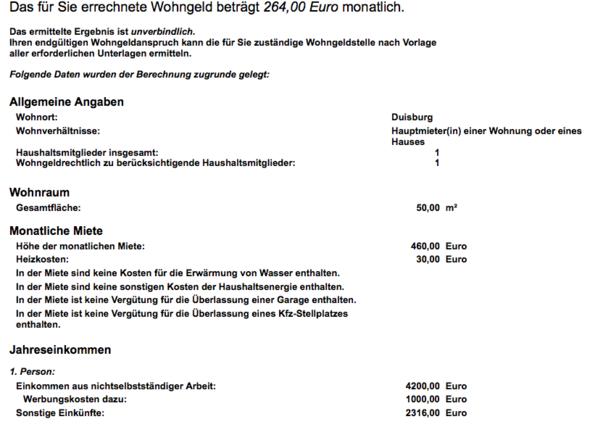 RECHNUNG - (Wohngeld, rechner, FSJ)